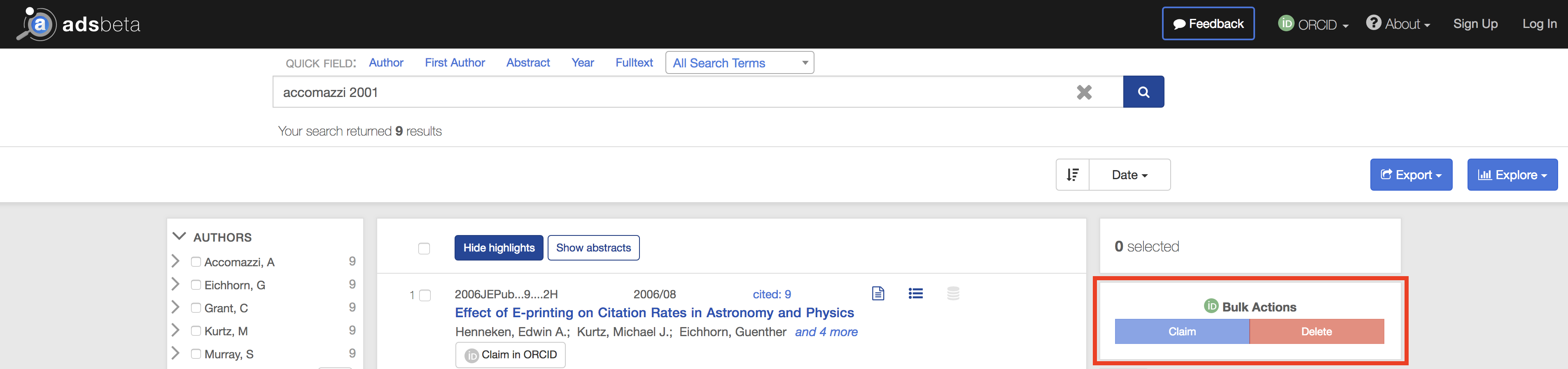 ORCID bulk action selection in the righthand column of the search results page