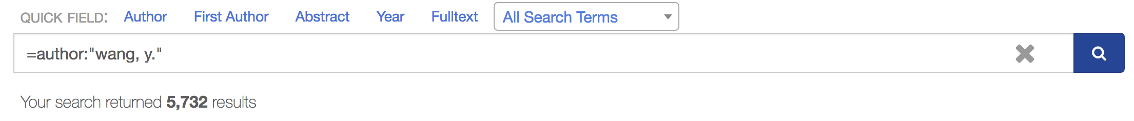 Exact    name matching query with full family name and given name    initial. 5732 total search results.