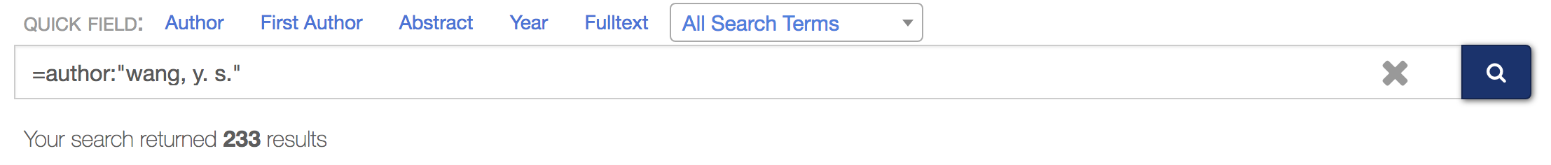 Exact    name matching query with full family name and given name and middle name    initials. 233 total search results.